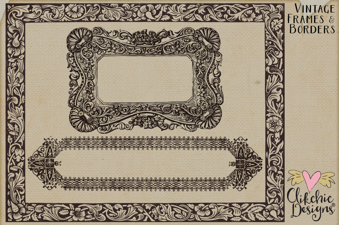 Vintage Frames and Borders plus Photoshop Brushes example image 3