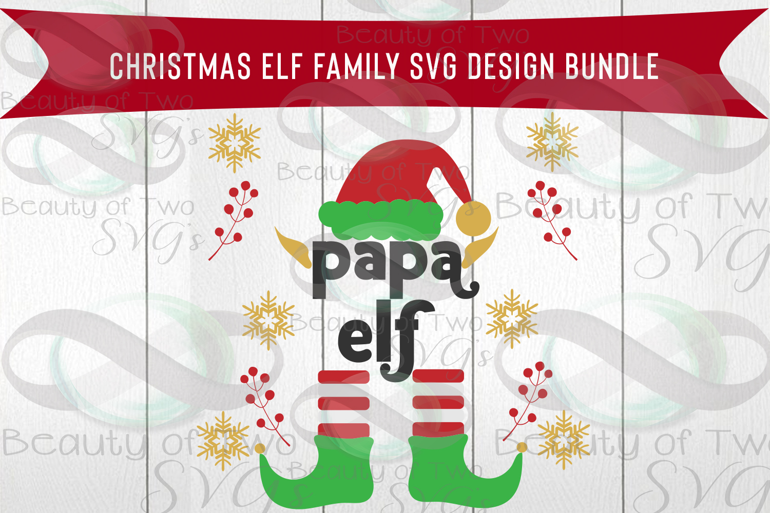 Christmas Elves Family Svg Bundle, 5 elf family svg designs example image 3
