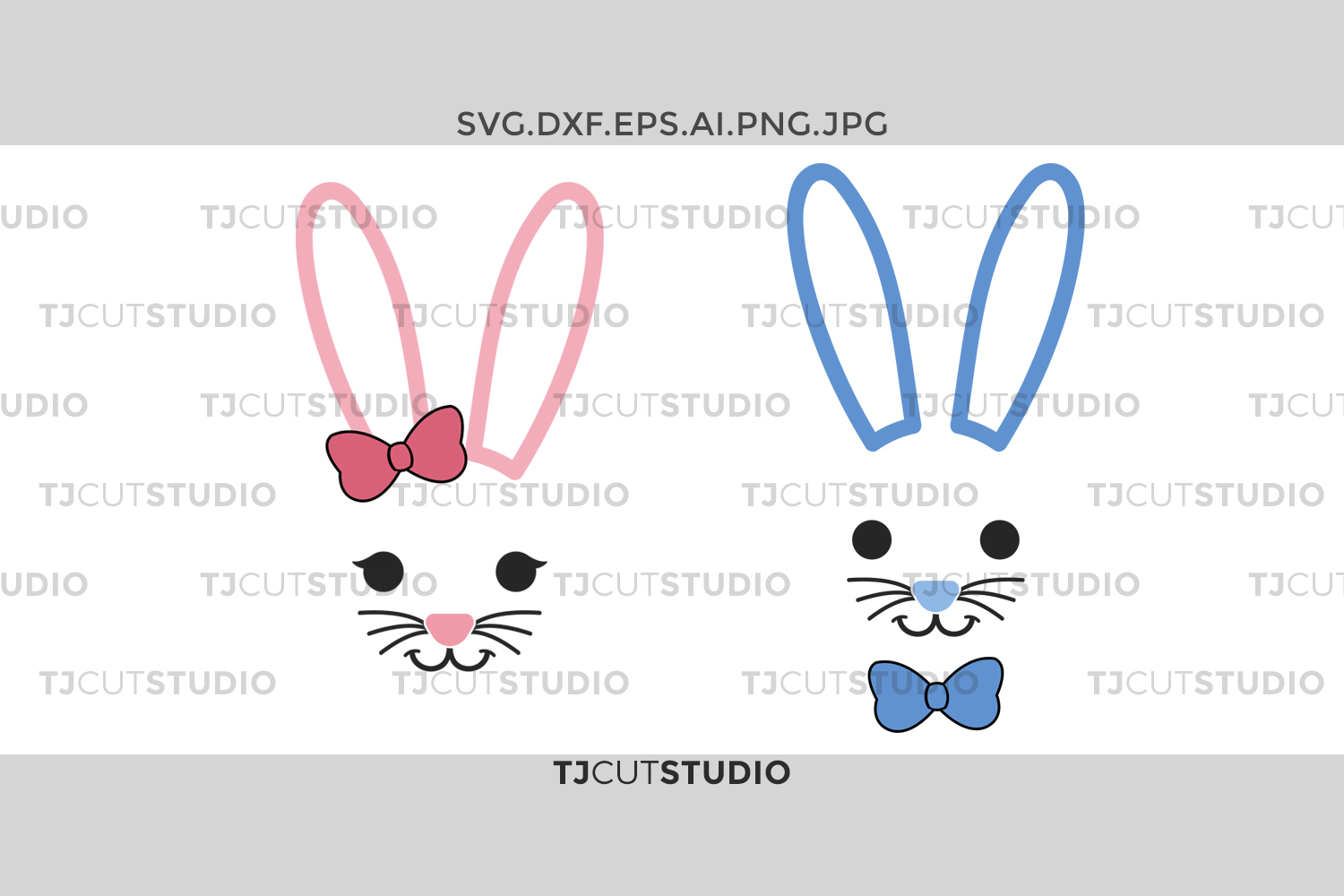 Bunny face SVG, svg, rabbit face svg, easter svg, boy, girl, Svg Files for Silhouette Cameo or Cricut Commercial & Personal Use. example image 1