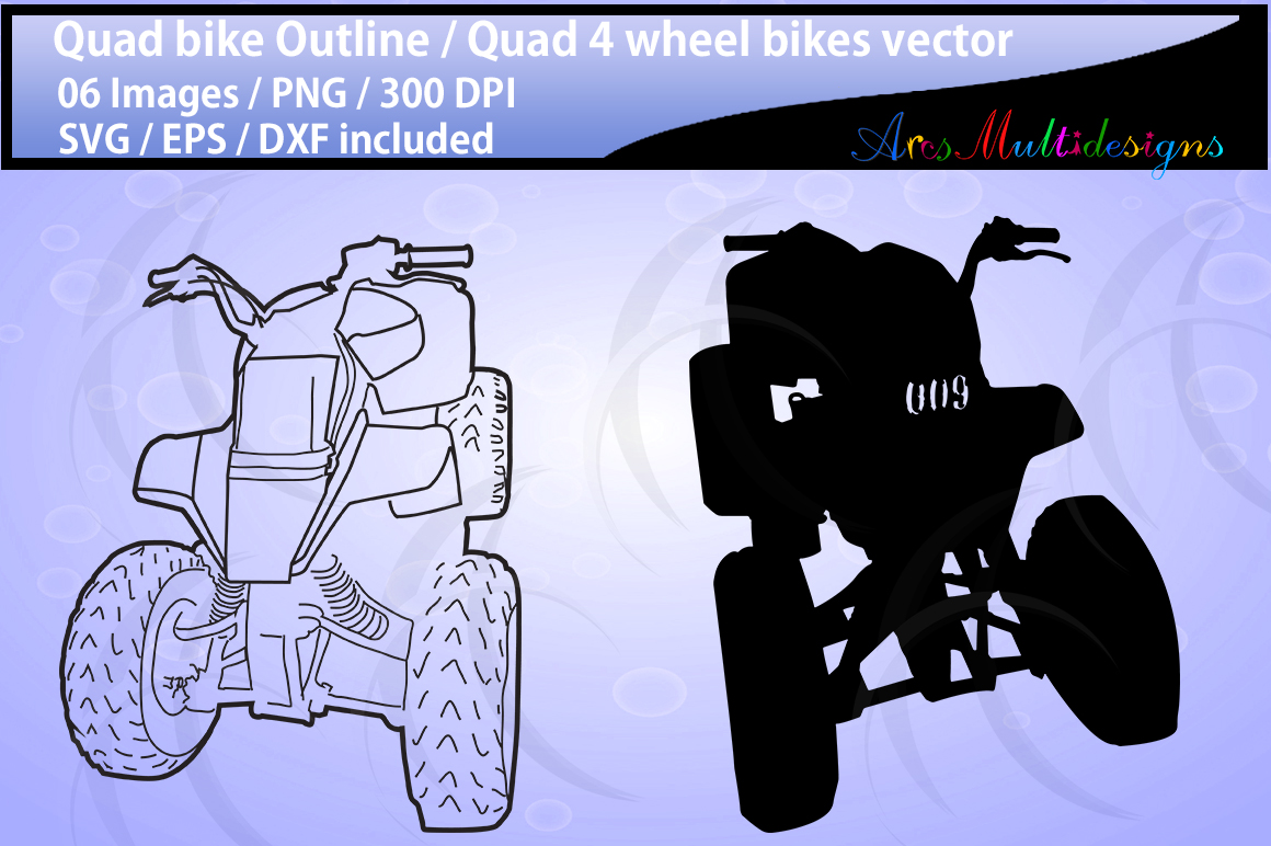 Quad bikes clipart and silhouette SVG EPS DXf Png / quad bike riders / four wheel bikes / quad bike outline illustration / commercial use example image 2