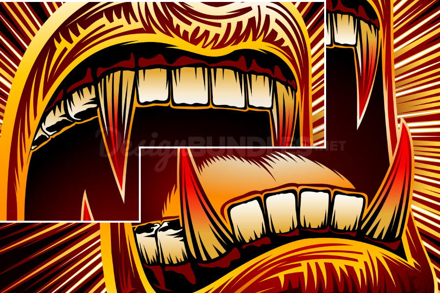Vector Mouth Open Halloween Vampire Jaws Fang Stamp Print example image 5