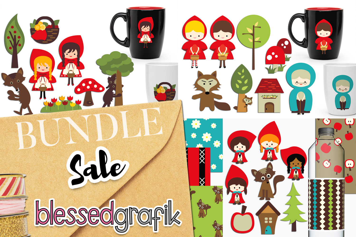 Little red riding hood clip art illustrations graphics