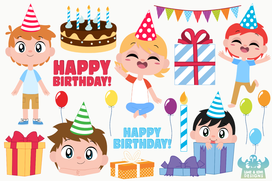 Birthday Party Boys 1 Clipart, Instant Download Vector Art example image 2