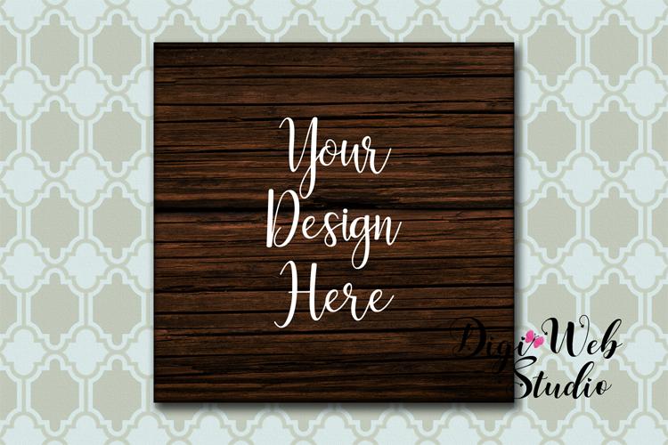 Wood Sign Mockup - Rustic Dark Wood Sign on Wallpaper example image 1