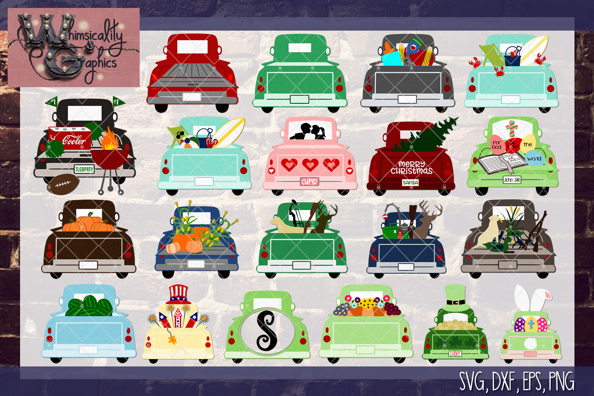 Whimsicality Vehicle Bundle SVG, DXF, PNG, EPS Comm & Pers example image 1