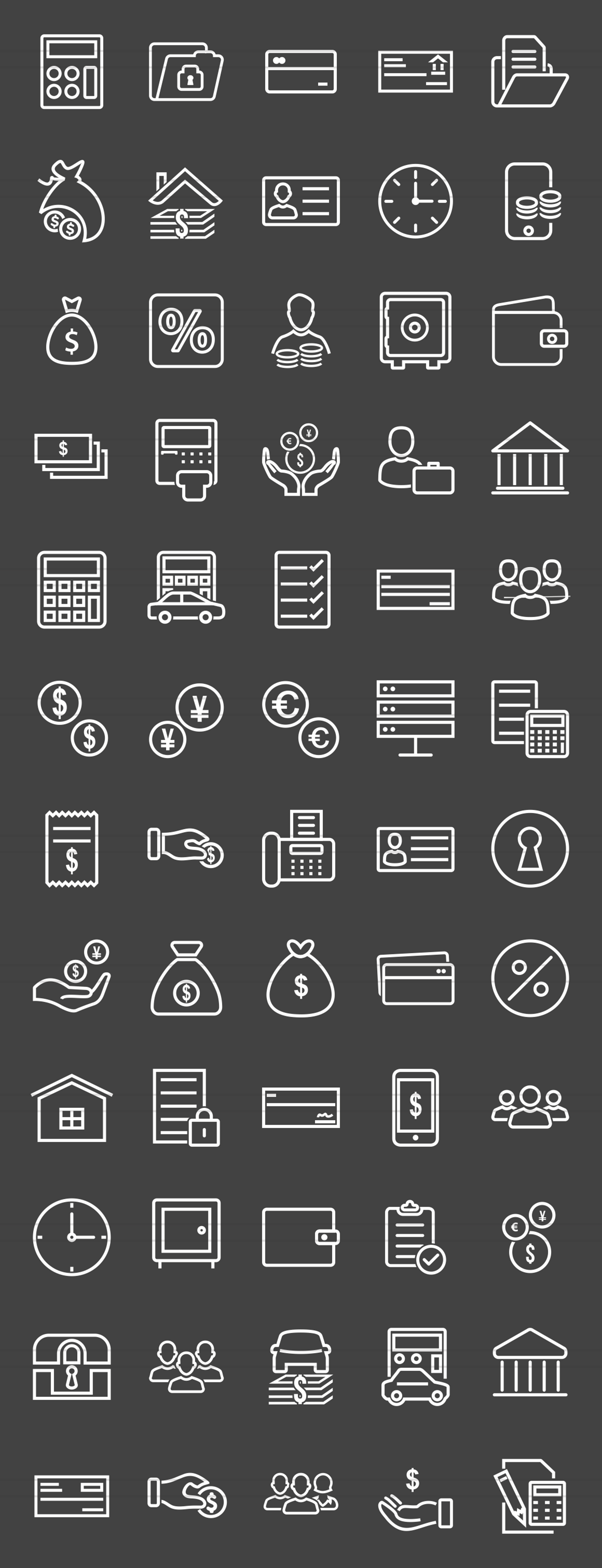 60 Banking Line Inverted Icons example image 2