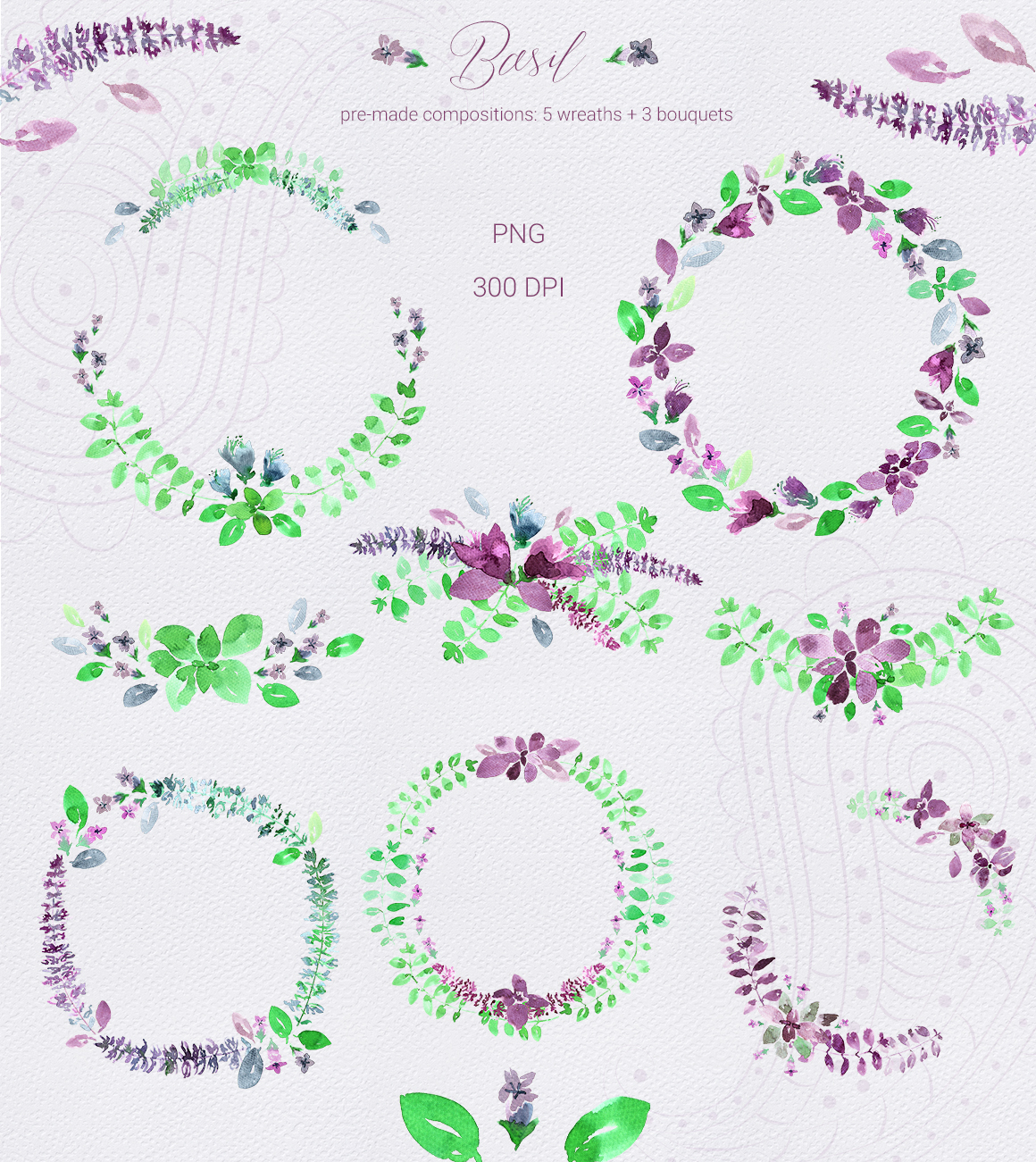 Basil & Paisley - watercolor set example image 7