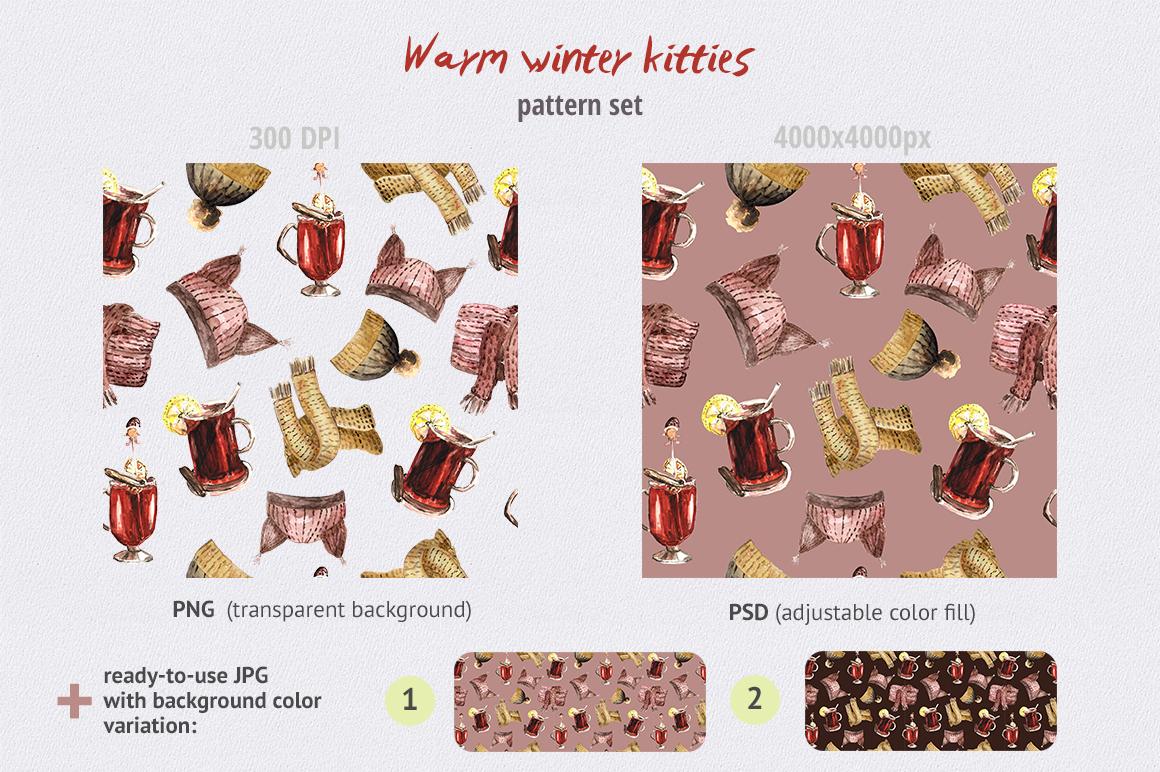 Warm Winter Kitties - watercolor example image 9