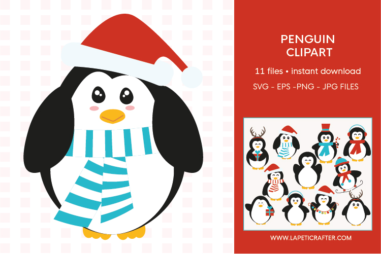 Christmas penguin clipart set, winter animals vector example image 10