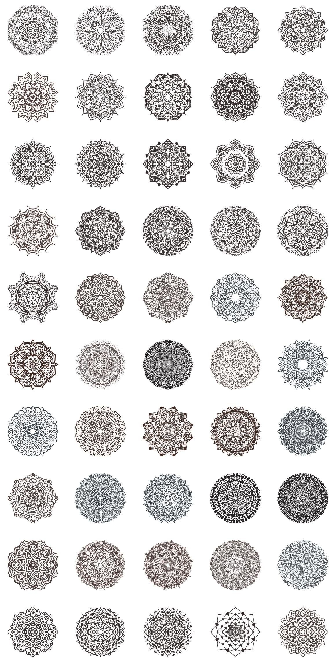 100 Vector Mandalas, Round Ornaments example image 2