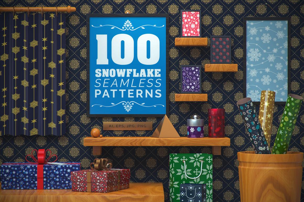 100 Snowflake Seamless Patterns example image 1