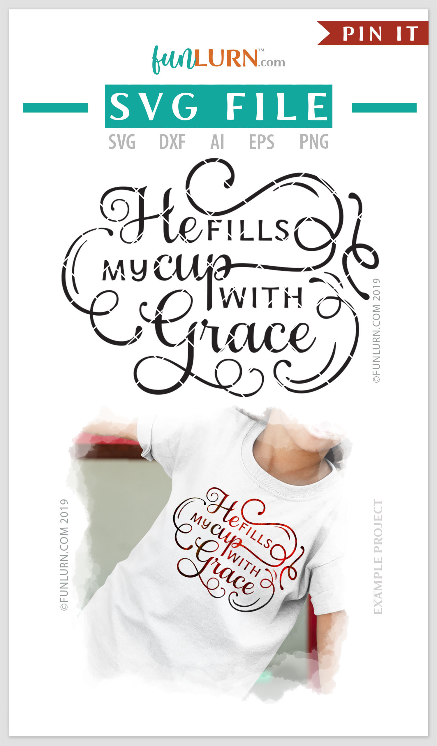 He Fills My Cup With Grace SVG Cut File example image 4
