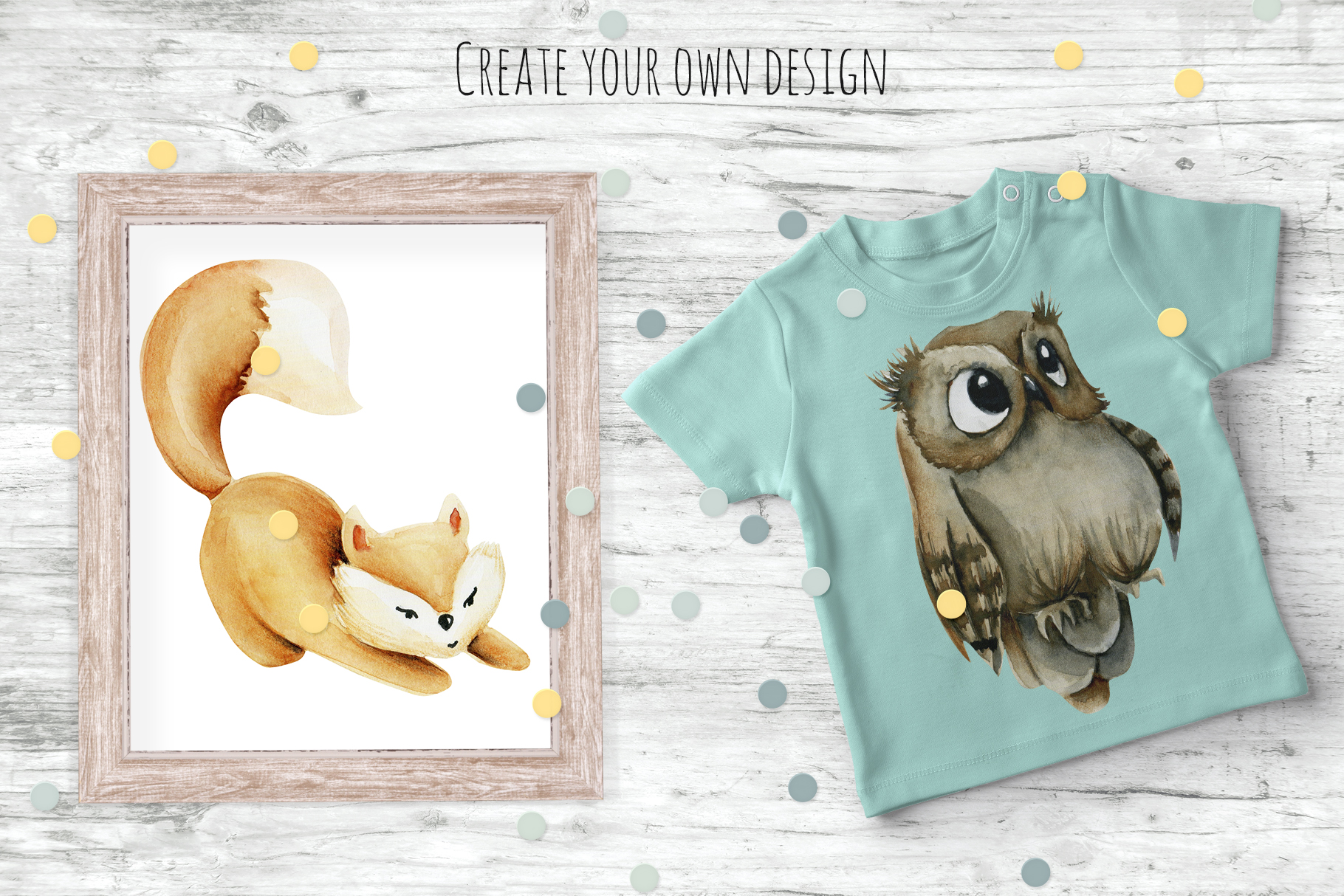 Foxes & Owls. Watercolor clipart. example image 4