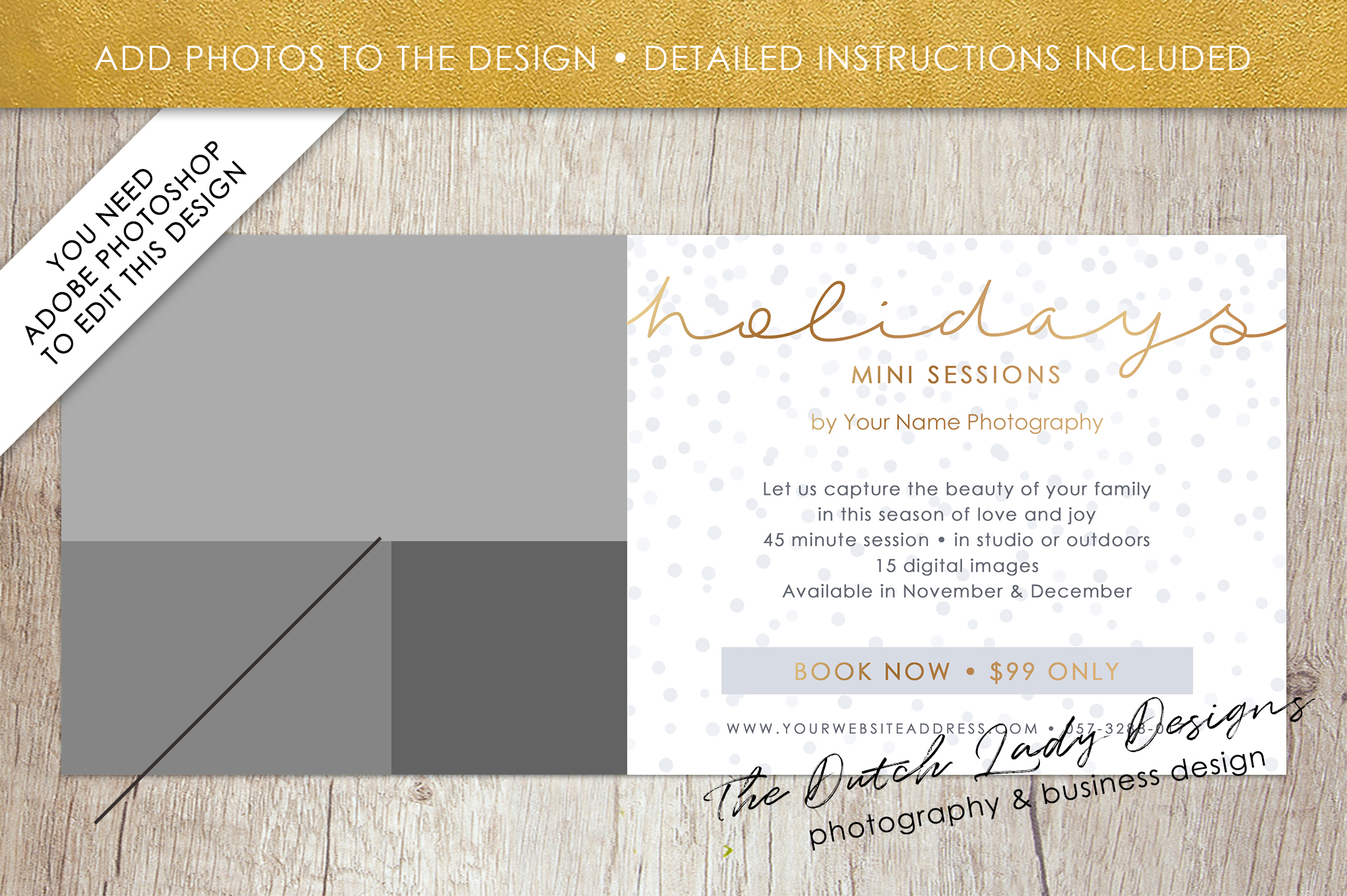 PSD Photo Mini Session Card Template - Design #24 example image 2