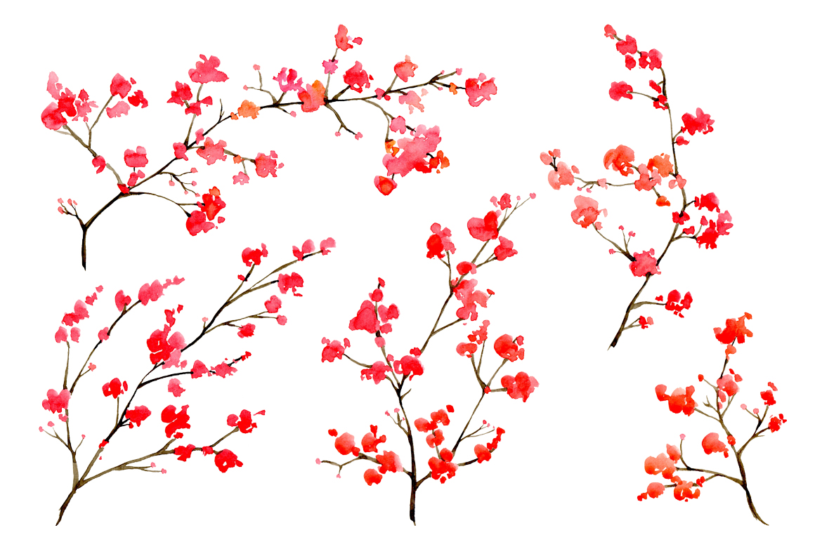 Watercolor floral branches, 10 png example image 3