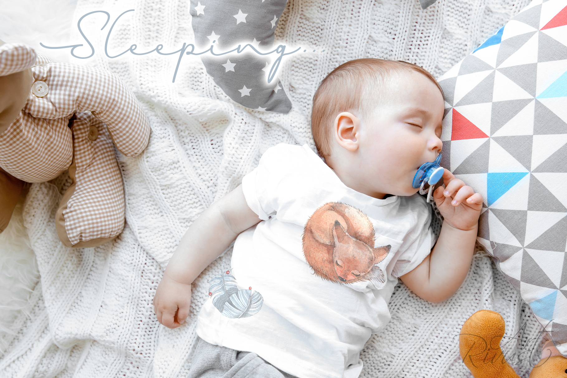 Cute sleeping baby animals watercolor clipart kit example image 10