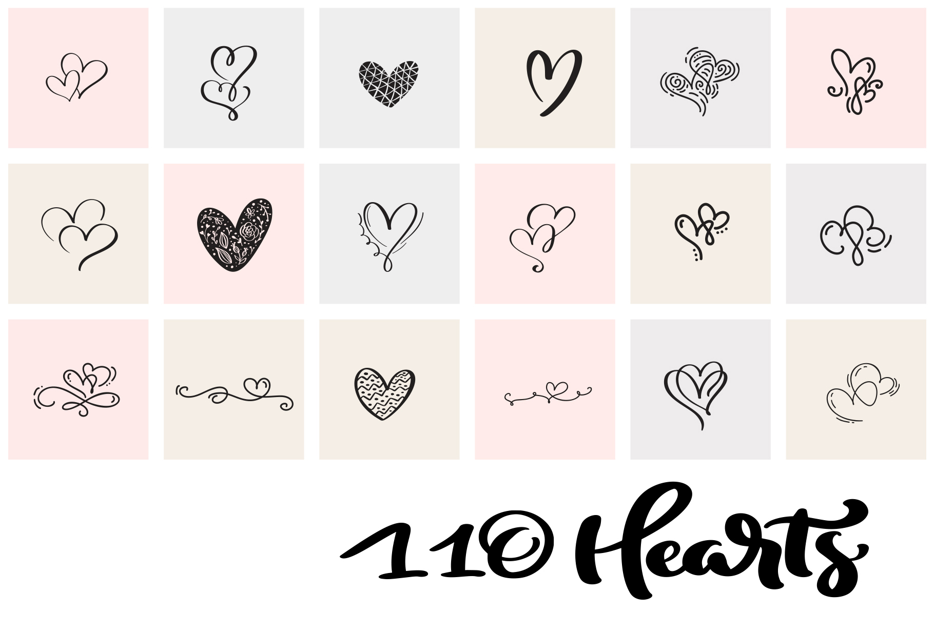 Valentine vector hand draw hearts SVG example image 11