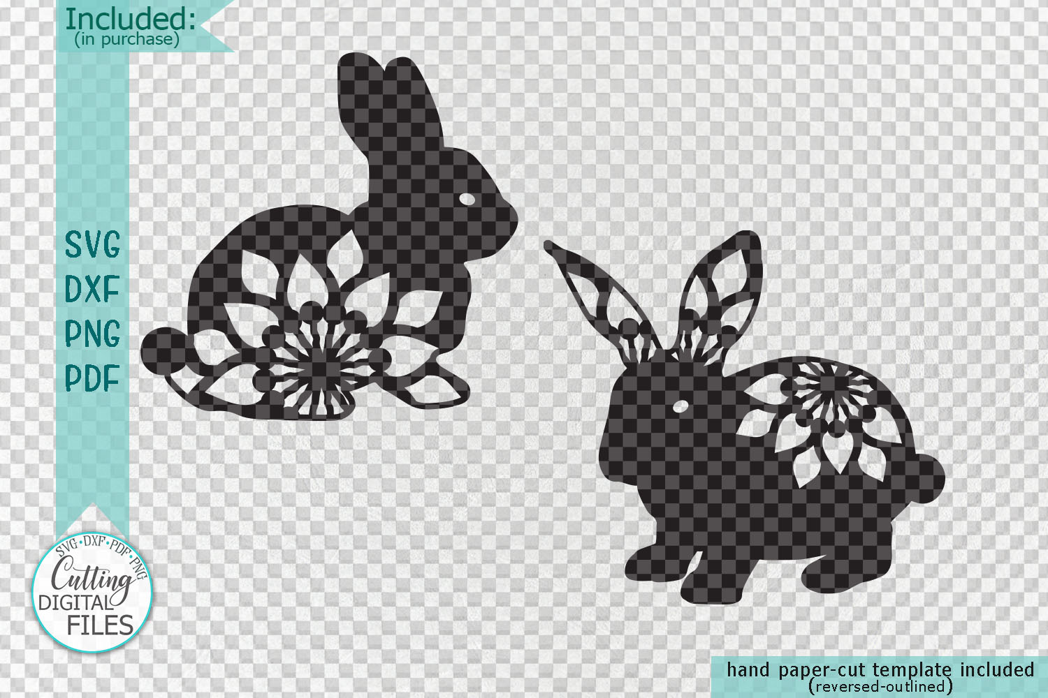 Floral Easter Bunnies set paper cut laser cut svg dxf files example image 2