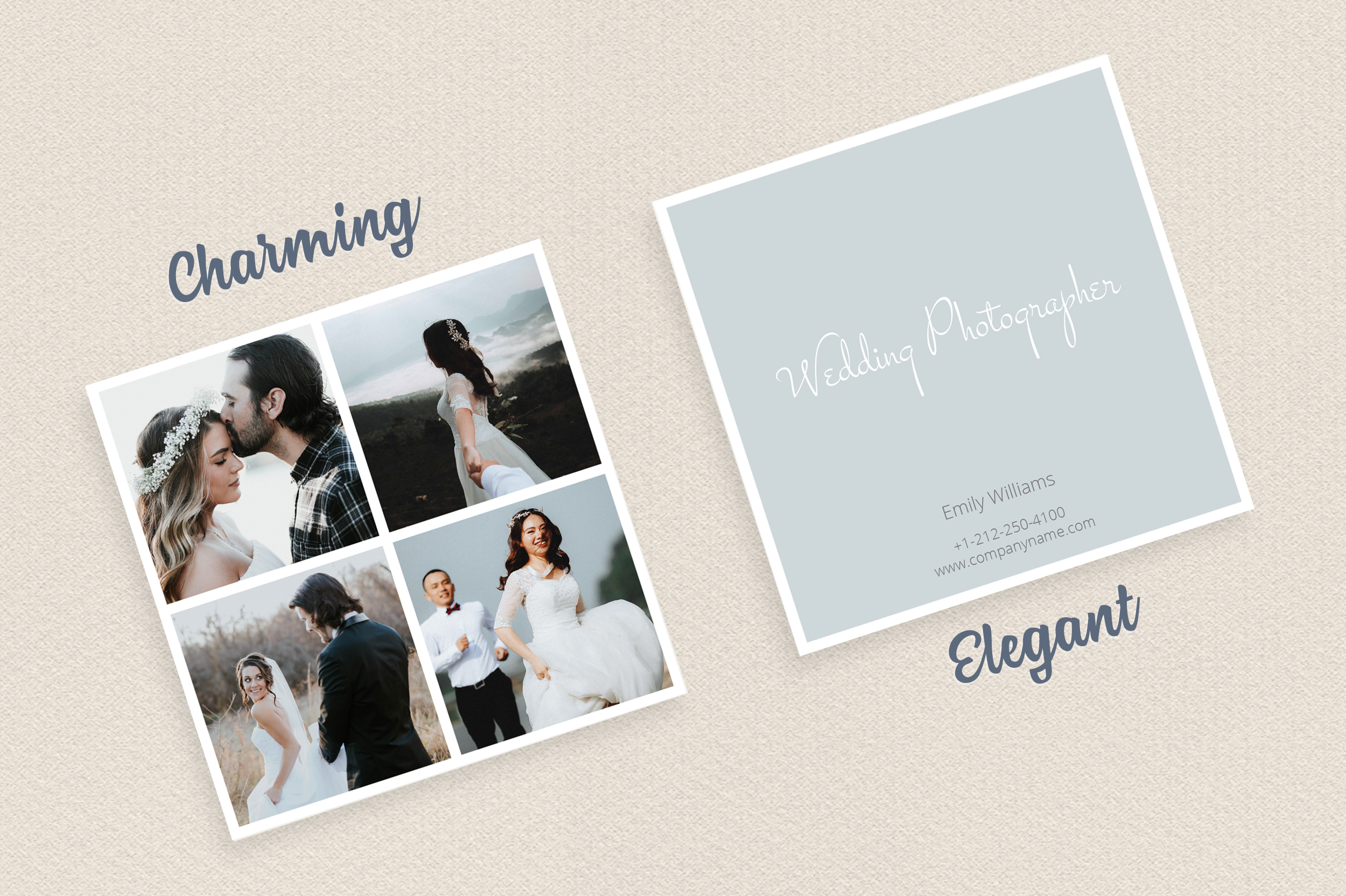 Square Polaroid Wedding Photographer Business Card example image 4