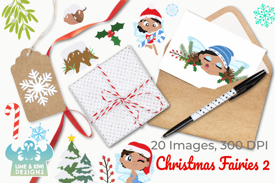 Christmas Fairies 2 Clipart, Instant Download Vector Art example image 4