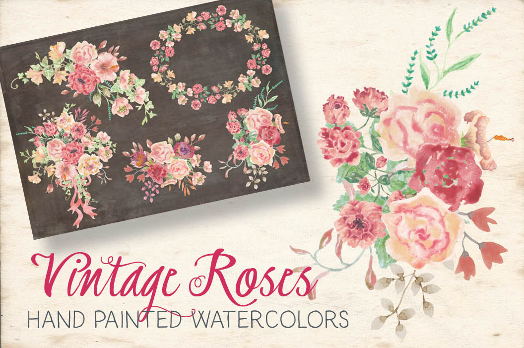 Watercolor sprays of vintage roses example image 1