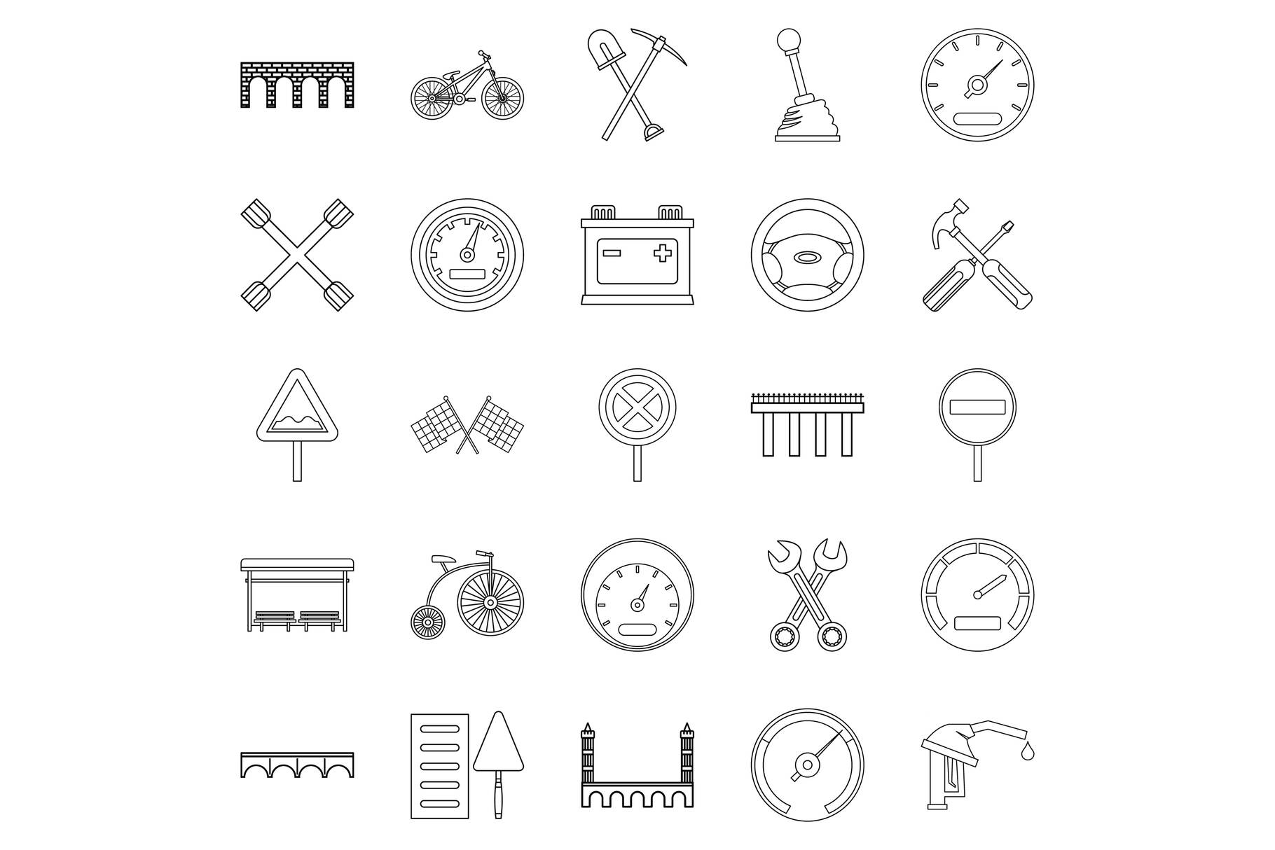 Roadbed icons set, outline style example image 1