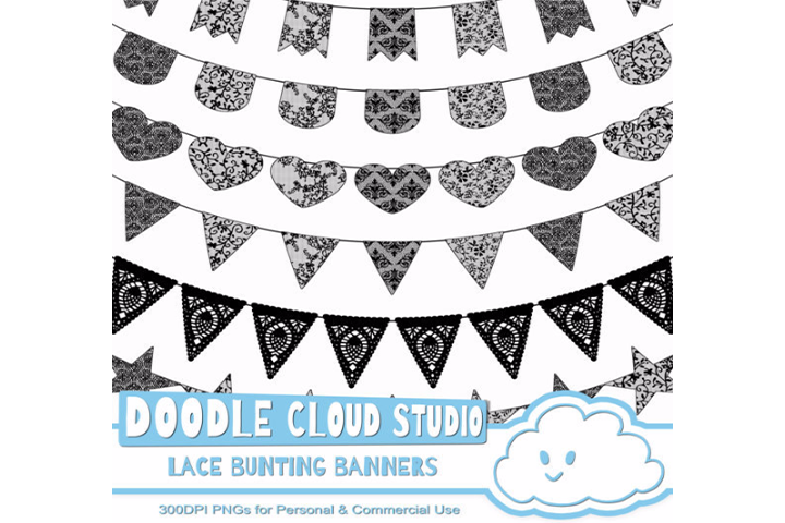 Black Lace Burlap Bunting Banners Cliparts multiple lace texture flags Dark Gothic Bunting Transparent Background Personal & Commercial Use example image 1
