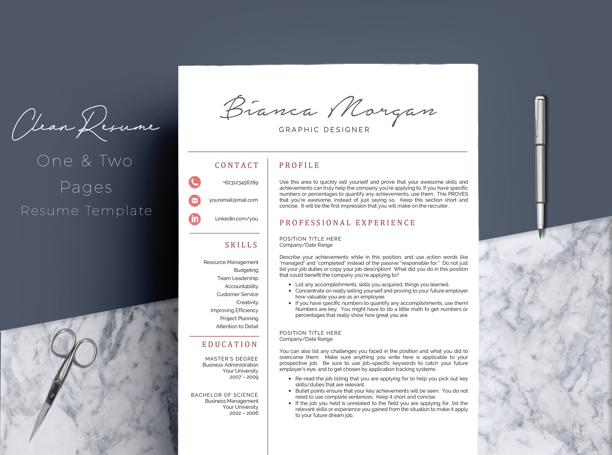 Creative Word Resume Template CV