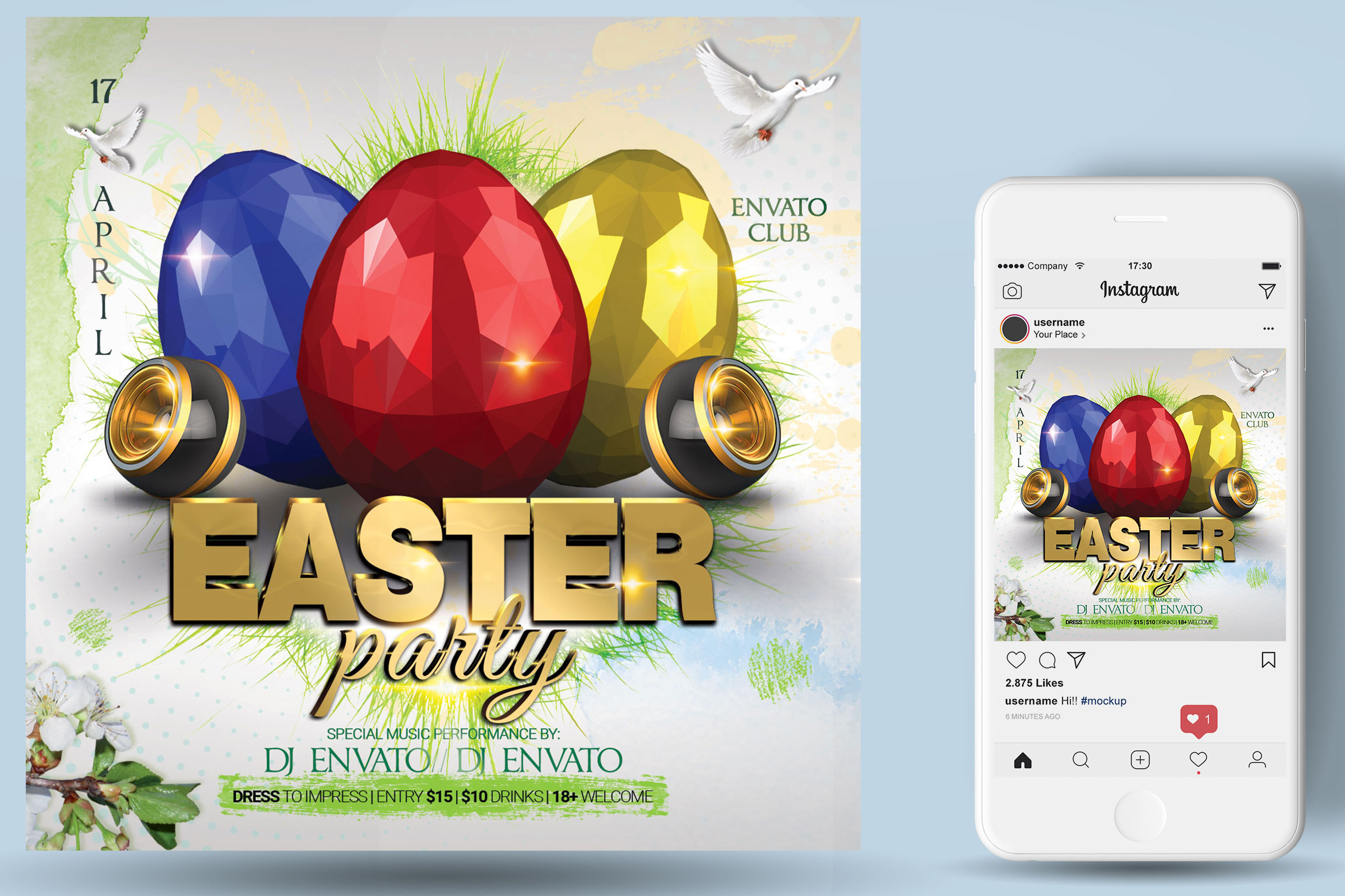 Happy Easter Party Flyer example image 2