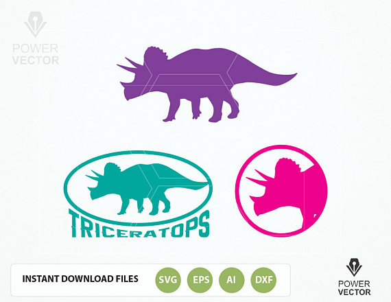 Dinosaur Svg File Bundle Vector clipart collection. Triceratops, T. Rex Dinosaurs svg, dxf, eps cut files for Cricut and Silhouette Cameo example image 2