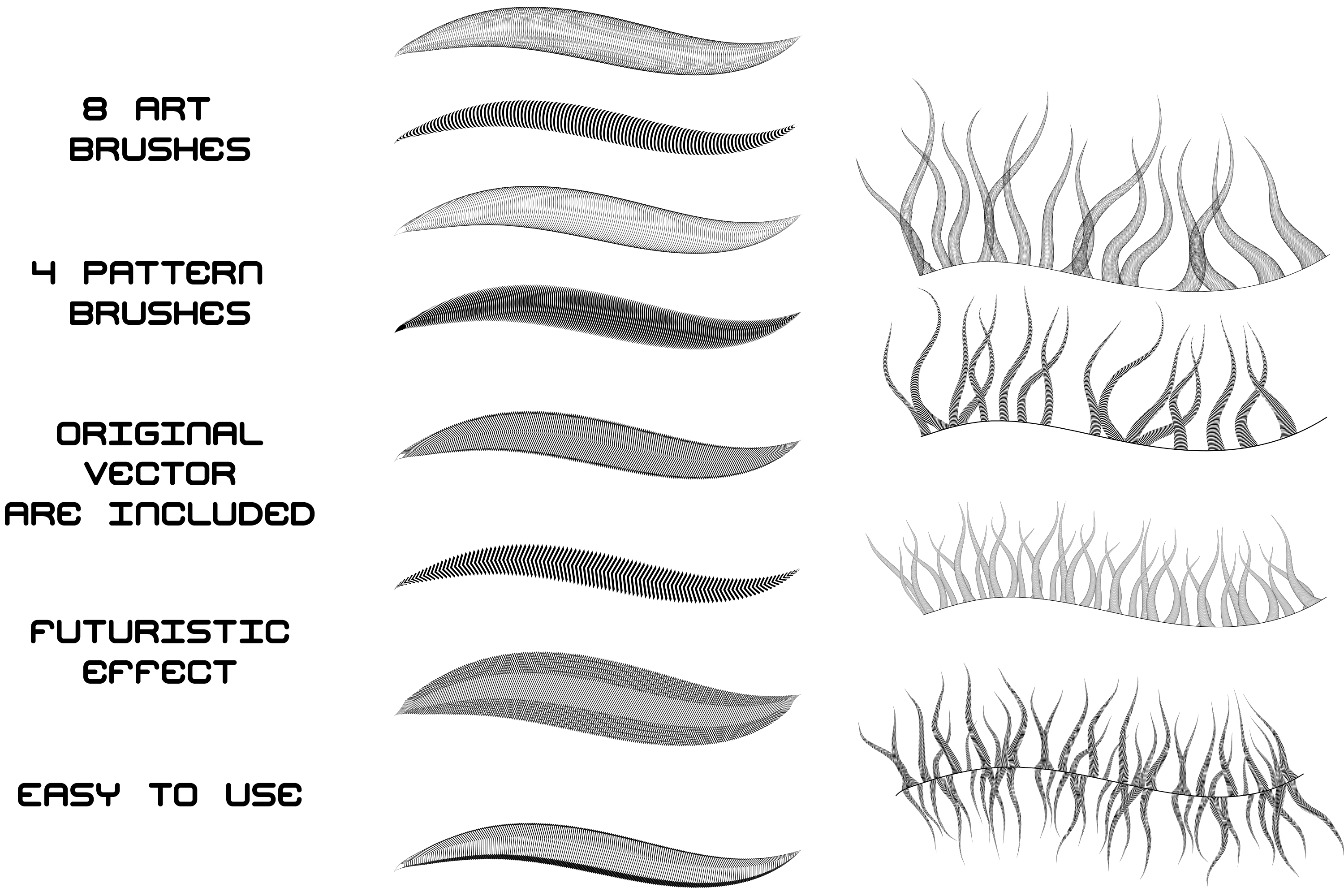 Tentacles - Futuristic Adobe Illustrator Brushes Pack example image 2