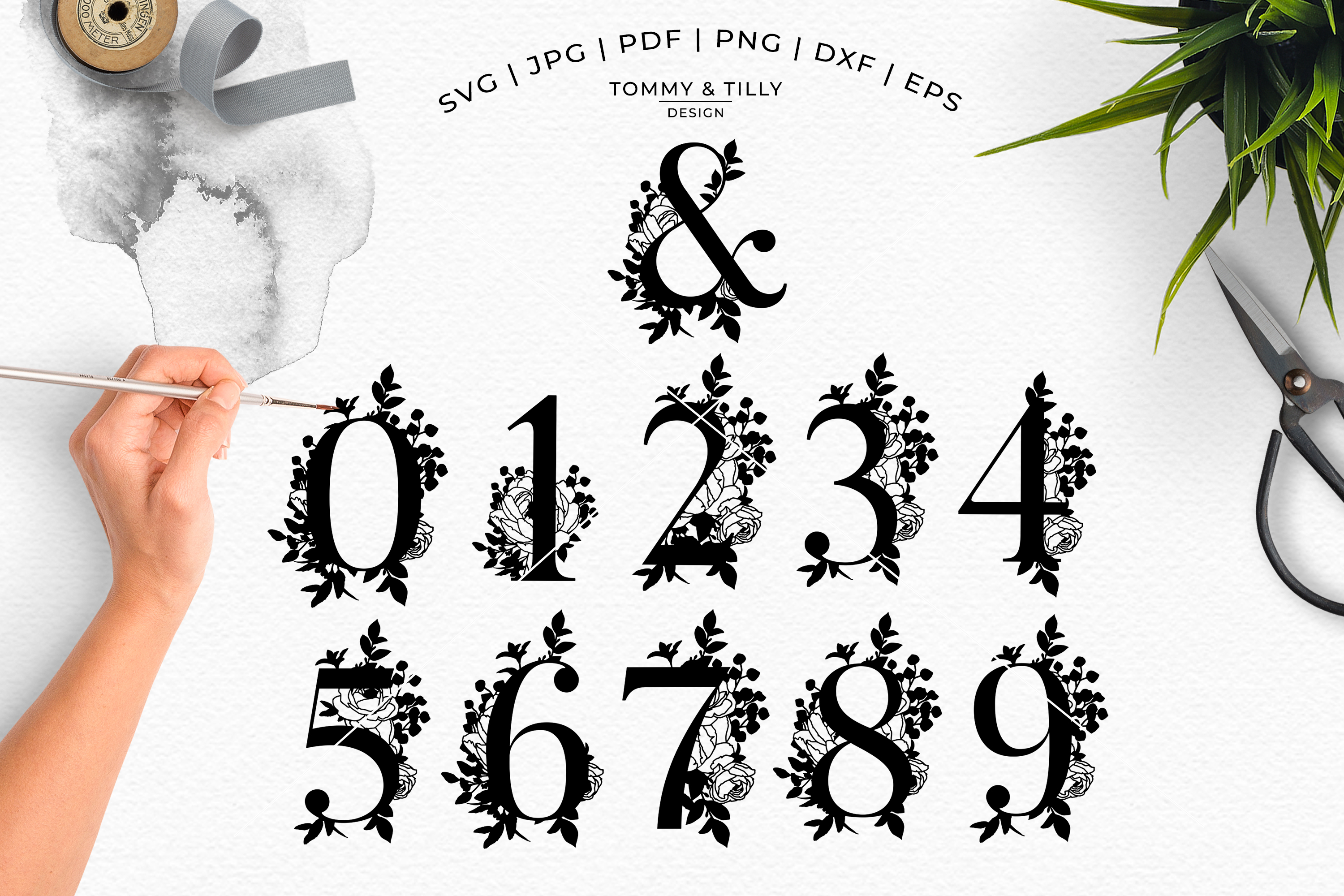 Bouquet Alphabet - Papercutting SVG DXF PNG EPS JPG PDF example image 8