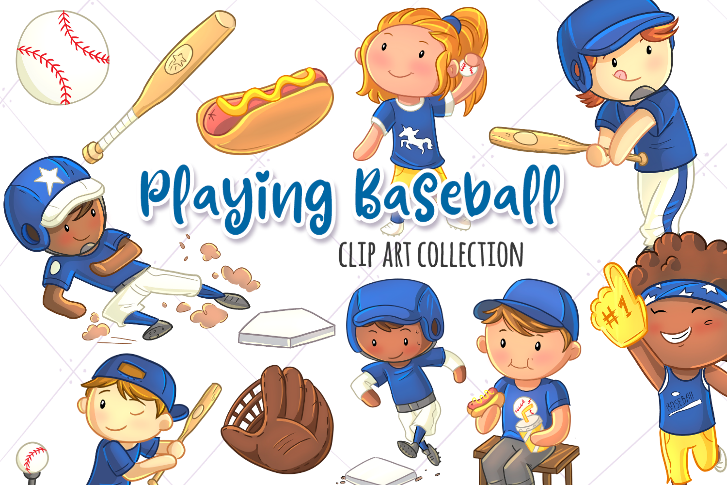 Kids Playing Baseball Clip Art Collection example image 1