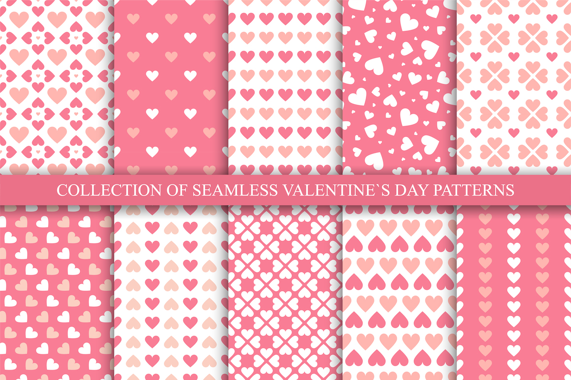 Vector seamless hearts patterns example image 1