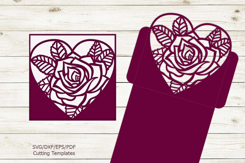 Rose heart Pocket envelope Wedding Invitation svg laser cut example image 3