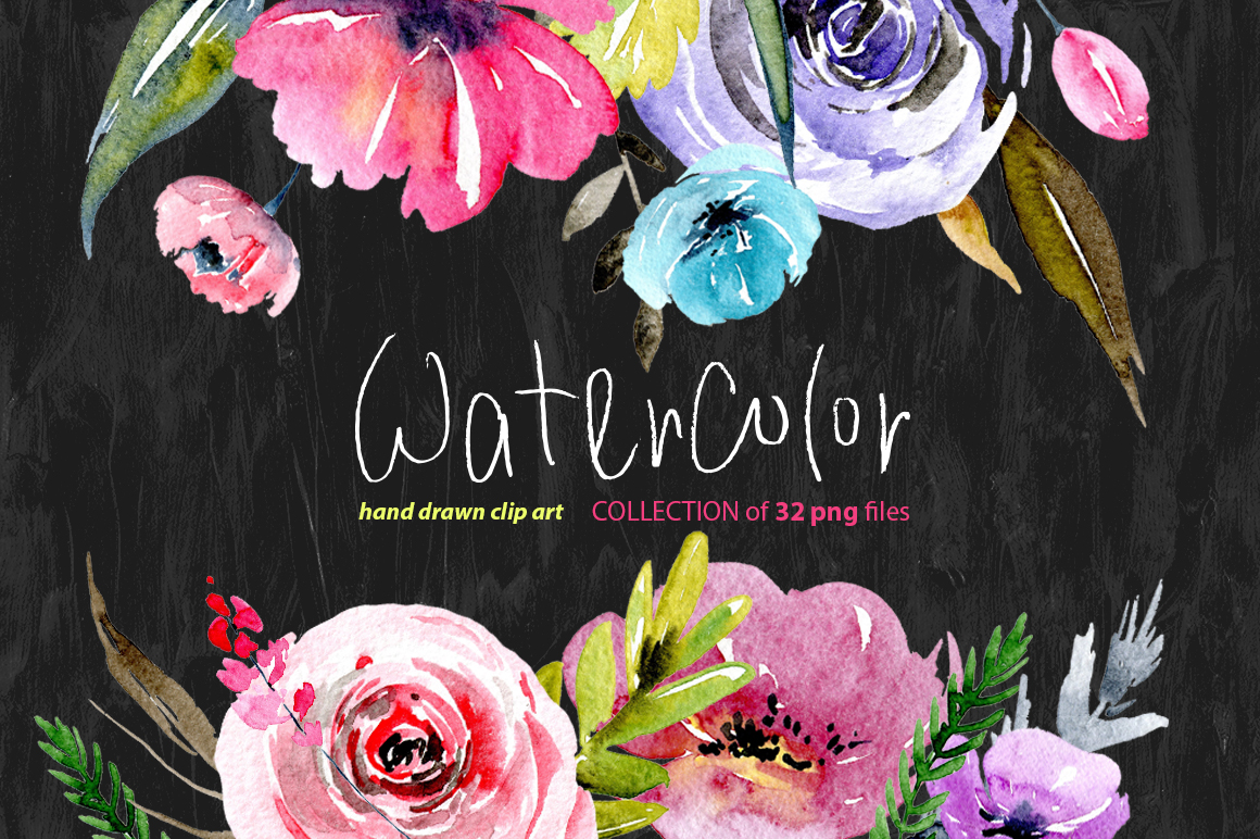Watercolour floral png elements example image 1
