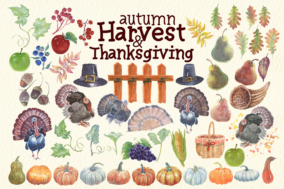 watercolor autumn, harvest and thanksgiving clipart example image 7