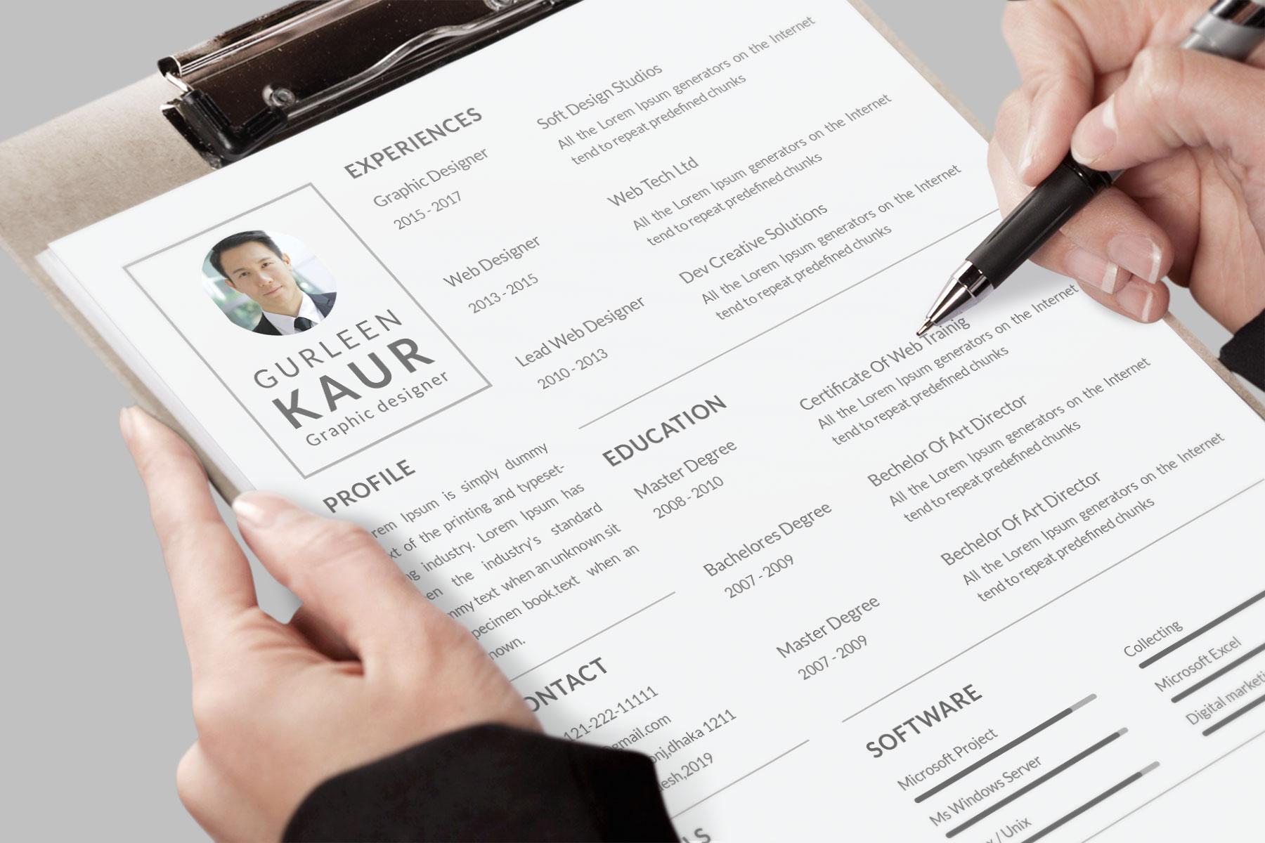 Professional Cv Resume Bonus business card Word/PSD,AI example image 8