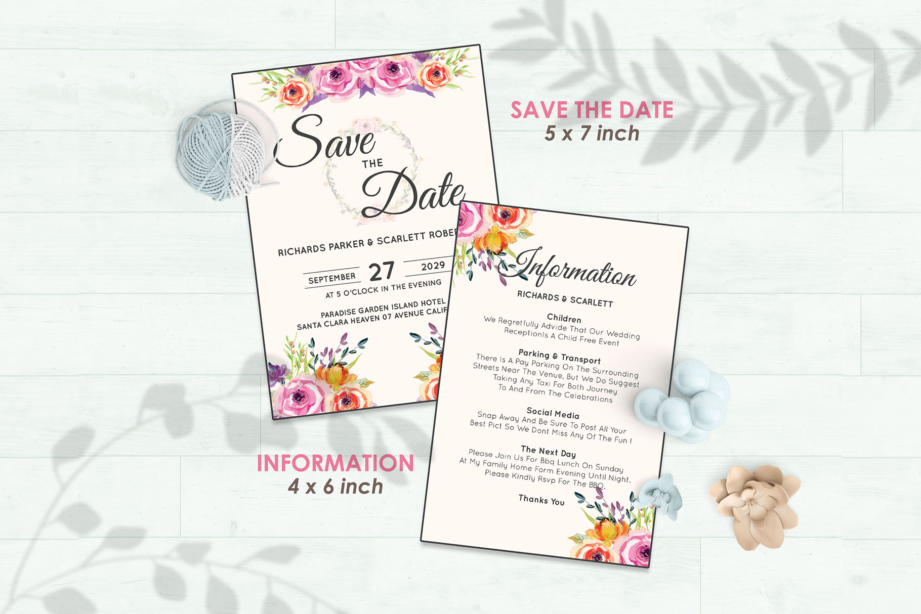Wedding Invitation Set #5 Watercolor Floral Flower Style example image 3