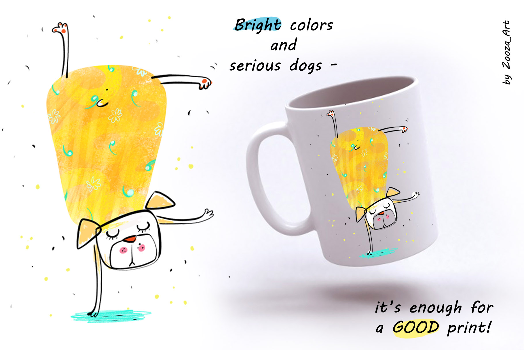 Yoga Dogs - 6 illustrations example image 4