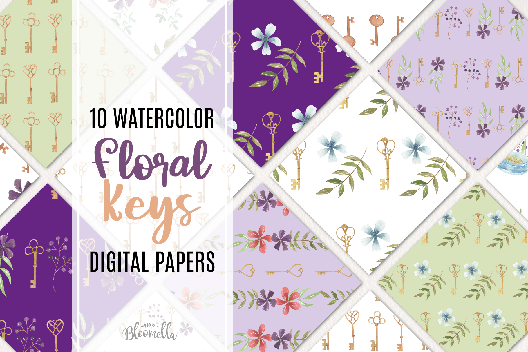 Keys Vintage Flowers Florals 10 Seamless Patterns Digital example image 1