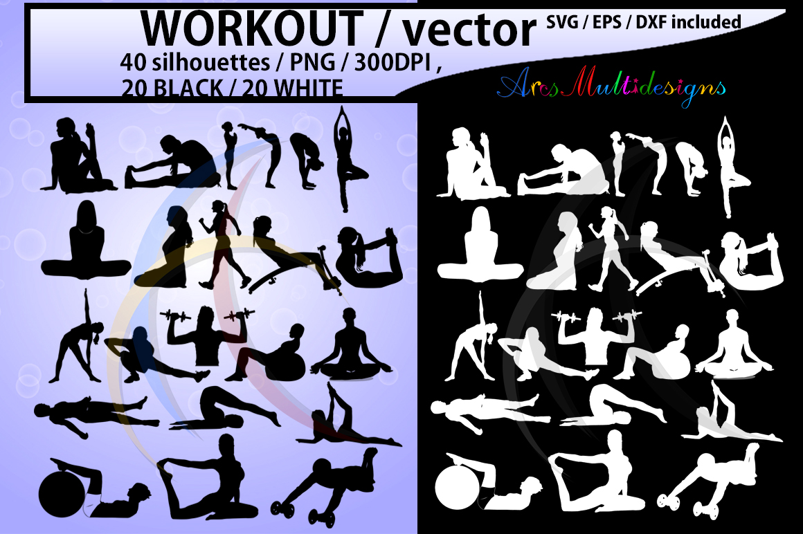 workout vector SVG / workout silhouette / workout clipart / vector workout file / exercise / yoga shapes / exercise silhouette/ EPS / PNG / Dxf example image 1