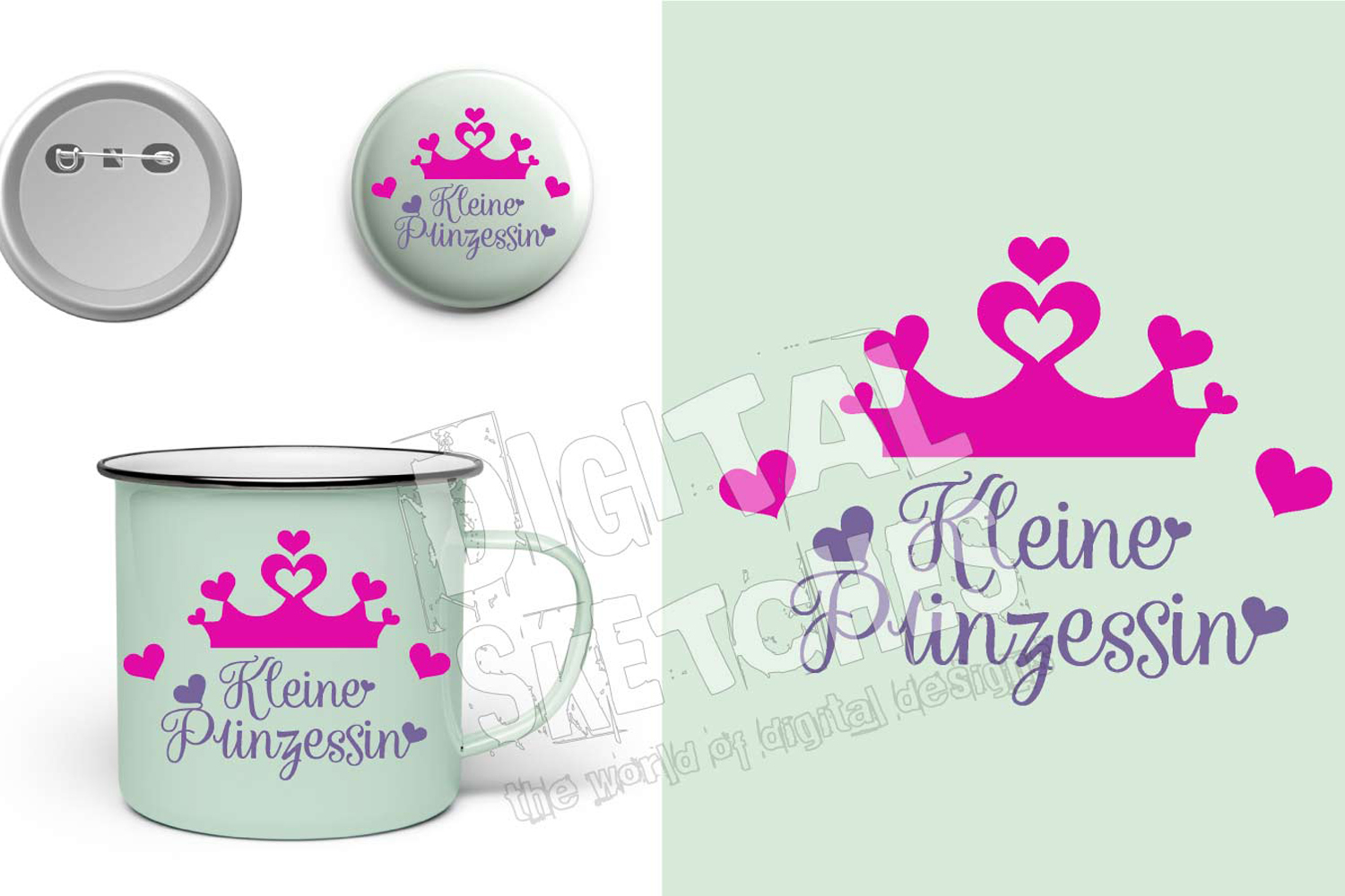 Crown Prinzessin Cut File Vector Graphics Illustration example image 2