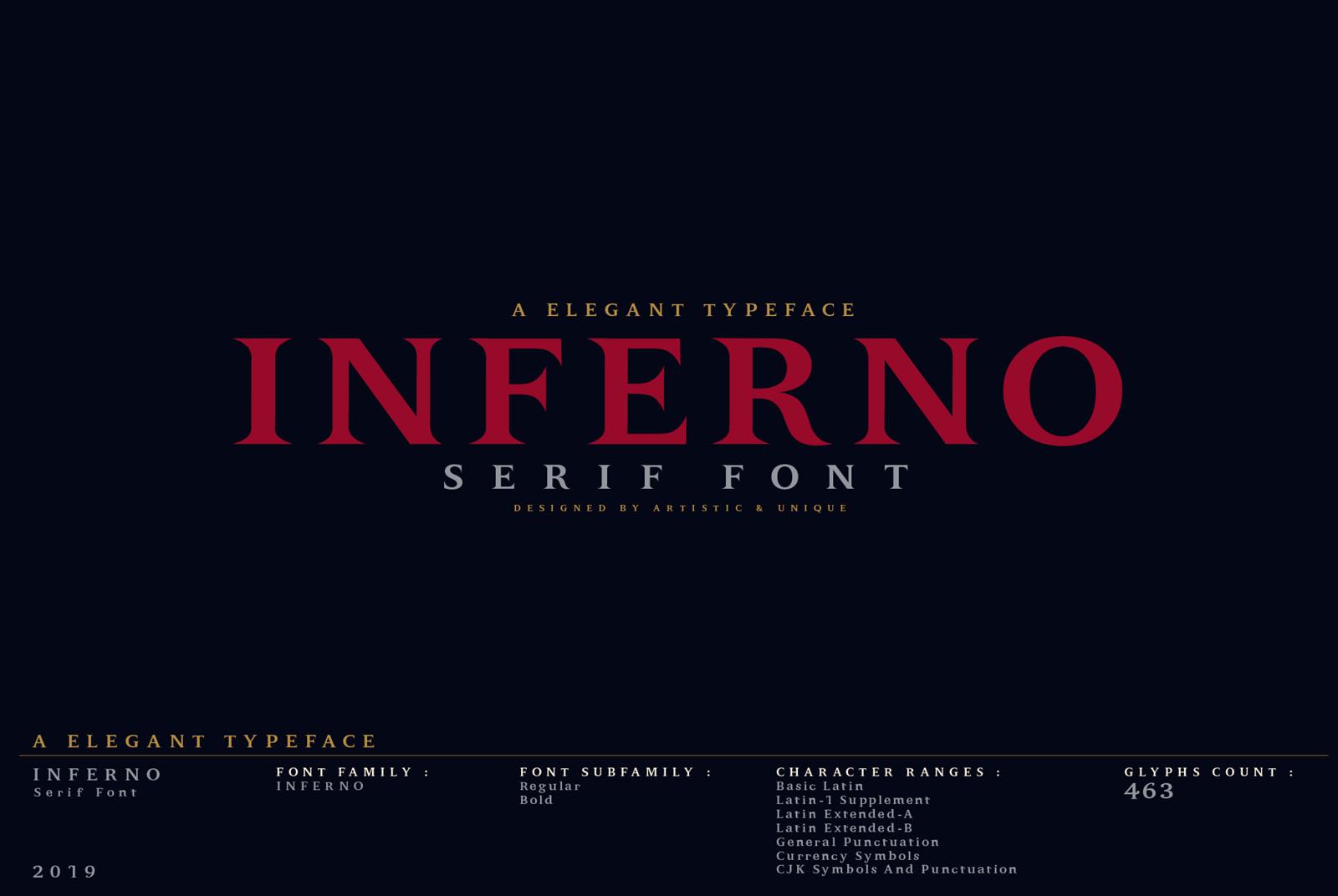 INFERNO Serif font example image 2