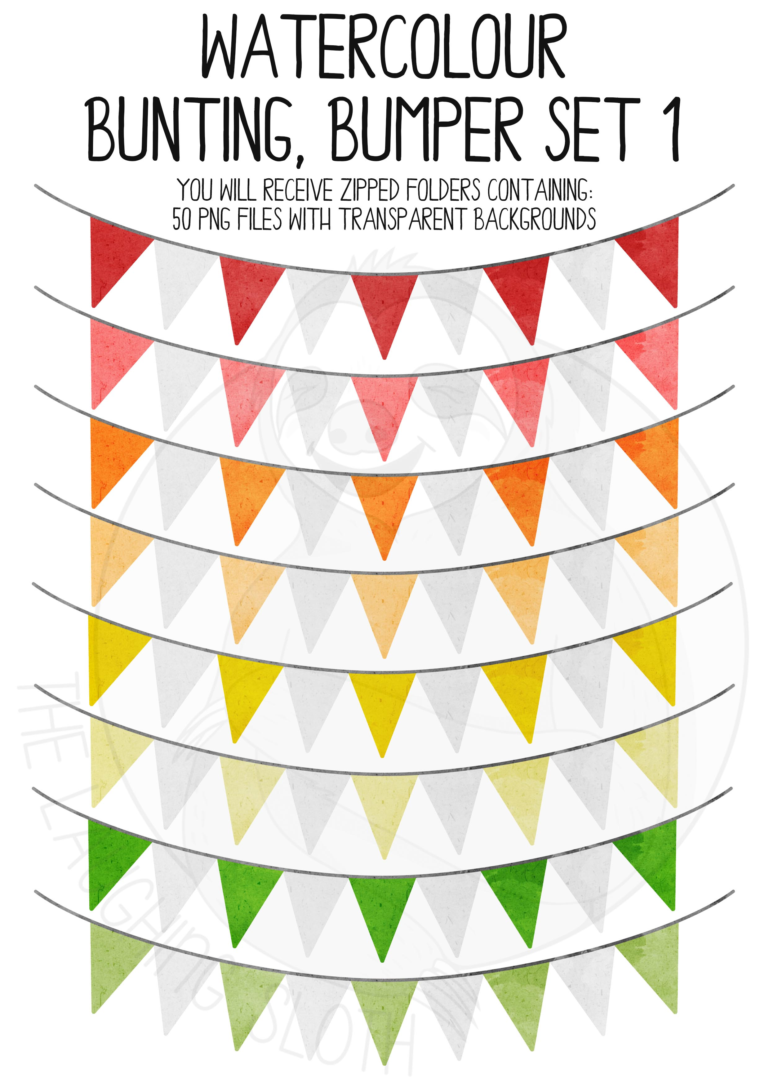 Watercolor Bunting Bumper Clipart Set example image 5