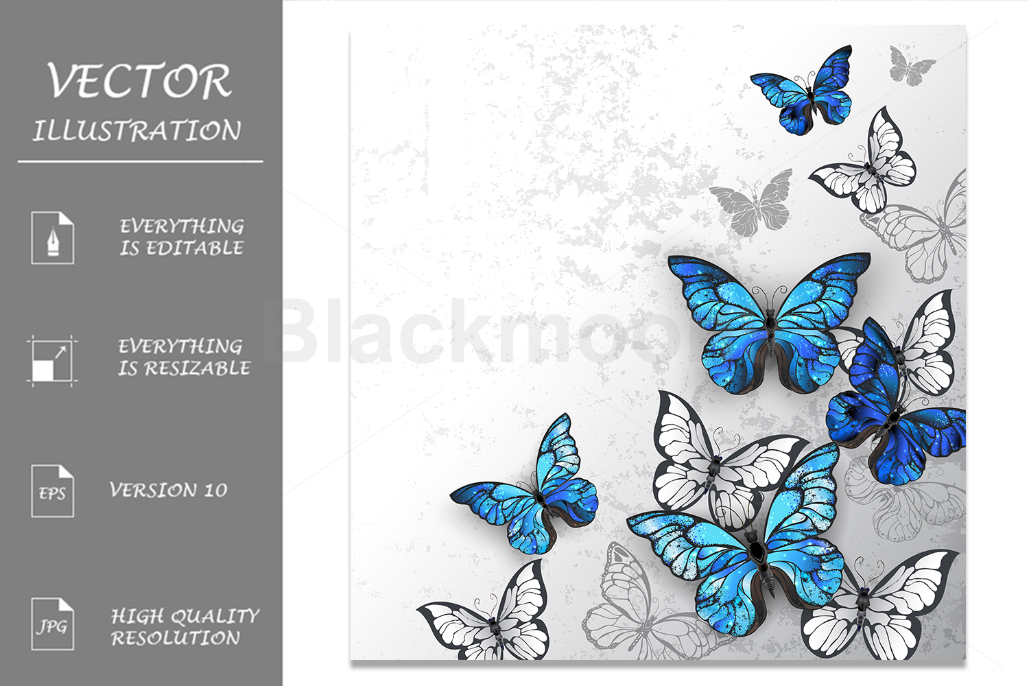 Blue and White Butterflies example image 1