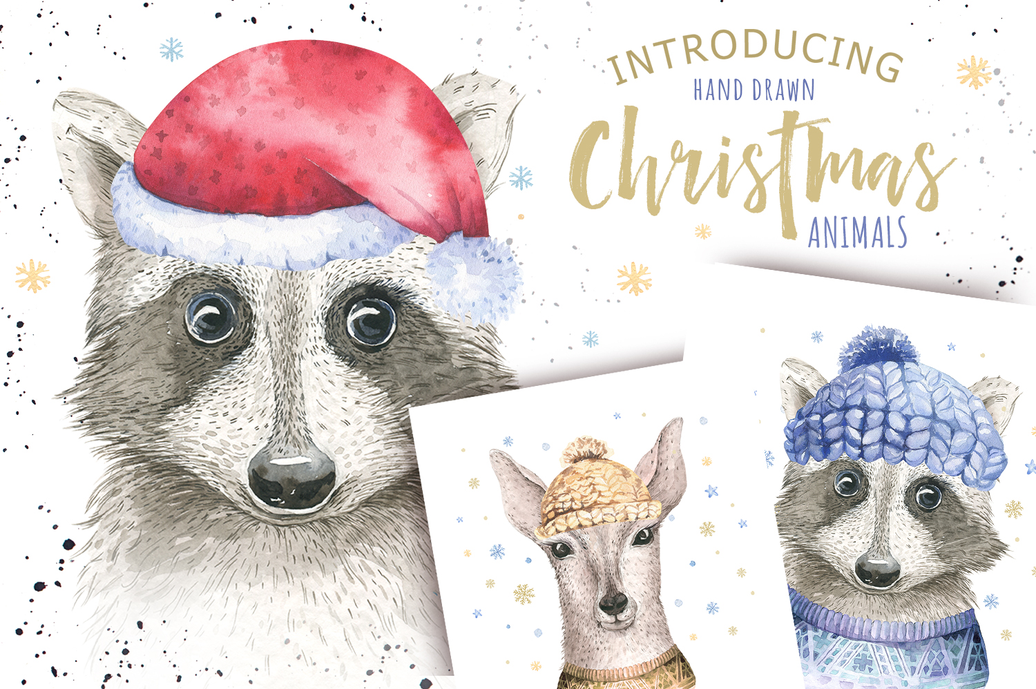 Christmas raccoon and deer animals example image 3