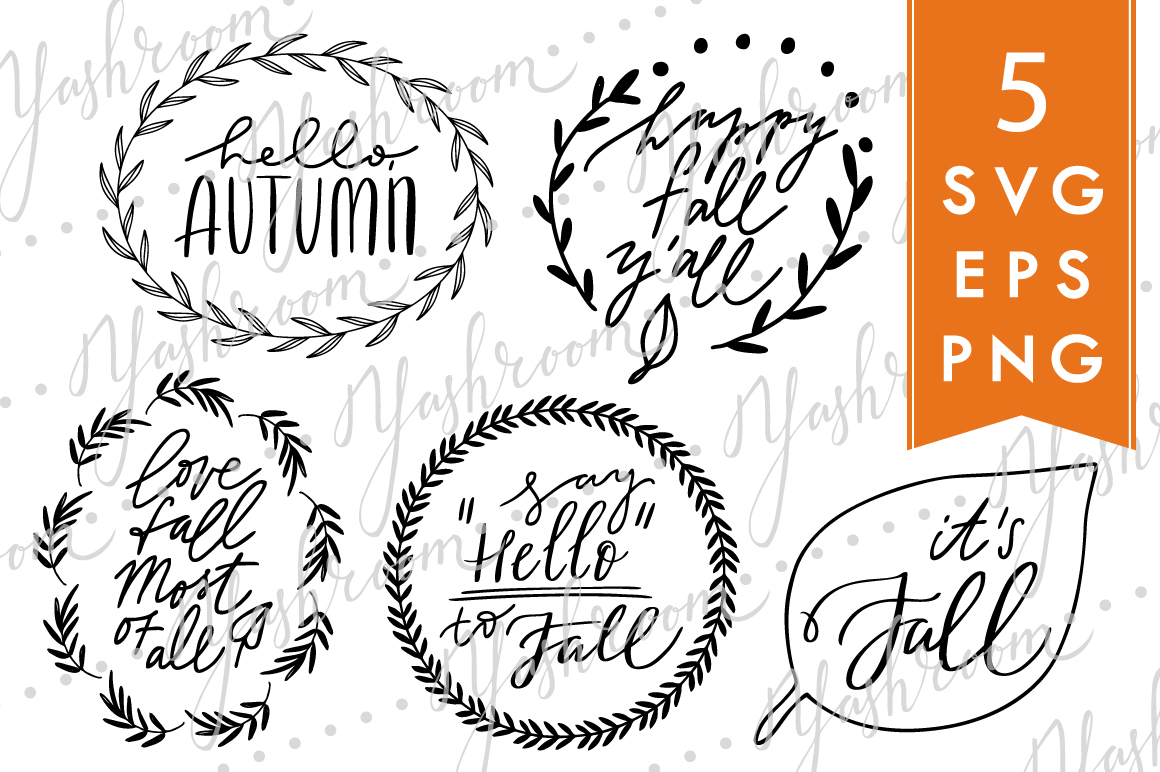 Hello, fall! - Silhouette SVG, EPS, PNG Collection example image 1
