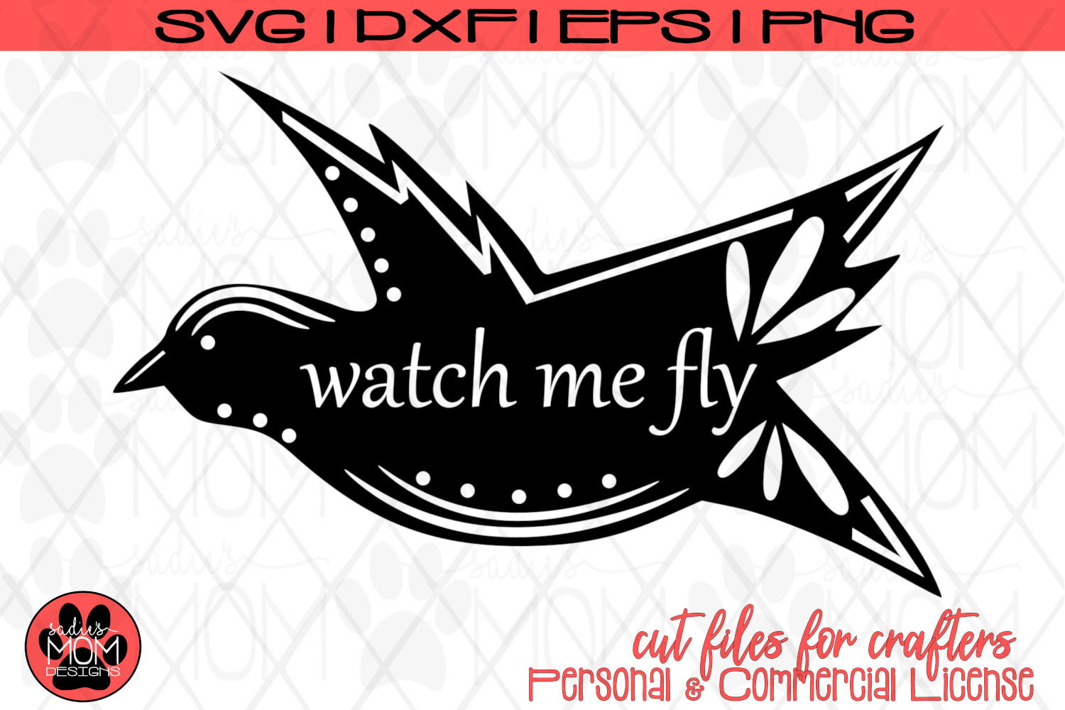 Watch Me Fly - Doodle Bird | Motivational SVG Cut File example image 2