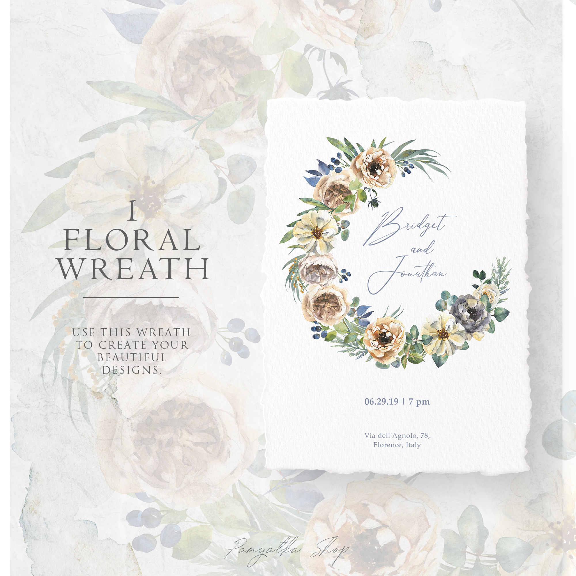 Delicate watercolor flowers and floral wreath example image 3